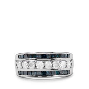 1.50ct Blue & White Diamond 10K White Gold Tomas Rae Ring