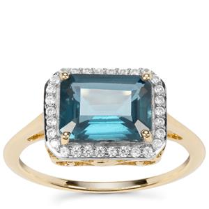 Orissa Kyanite Ring with White Zircon in 9K Gold 2.93cts