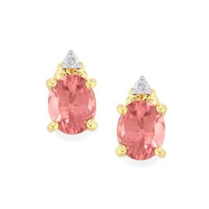 Mozambique Pink Spinel & Diamond 10K Gold Earrings ATGW 0.73ct