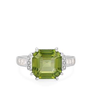 Fern Green Quartz Ring with White Topaz in Rhodium Flash Sterling Silver 4.37cts