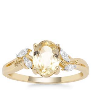 Minas Novas Hiddenite Ring with White Zircon in 9K Gold 1.81cts