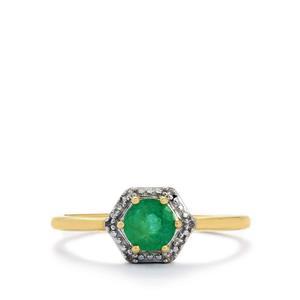 Zambian Emerald & Diamond 10K Gold Ring ATGW 0.47cts