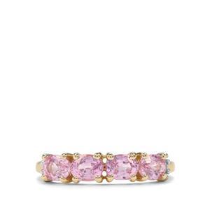 Sakaraha Pink Sapphire & Diamond 9K Gold Ring ATGW 1.28cts