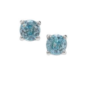 1.56ct Ratanakiri Blue Zircon Sterling Silver Earrings