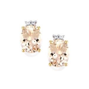 Alto Lignoha Morganite Earrings with Ceylon White Sapphire in 9K Gold 4.60cts