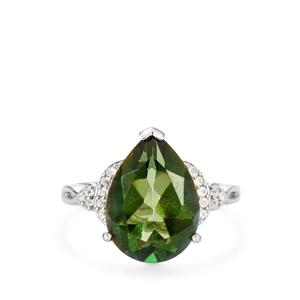 Fern Green Quartz Ring with White Topaz in Rhodium Flash Sterling Silver 4.34cts