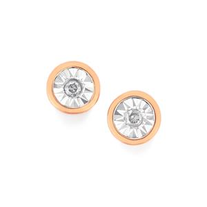 Diamond Earrings  in Rose Gold Plated Sterling Silver 0.06ct