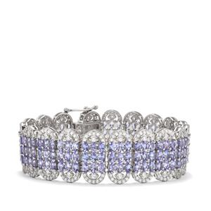 Tanzanite & White Zircon Sterling Silver Bracelet ATGW 37.09cts