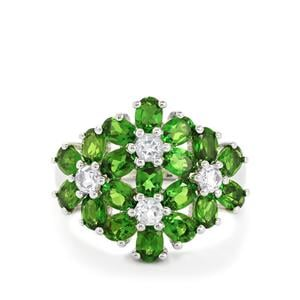 Chrome Diopside & White Topaz Sterling Silver Ring ATGW 4.01cts