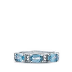 Ratanakiri Blue Zircon & White Topaz Sterling Silver Ring ATGW 2.57cts