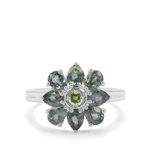 Natural Umba Sapphire & Chrome Diopside Sterling Silver Ring ATGW 2.33cts