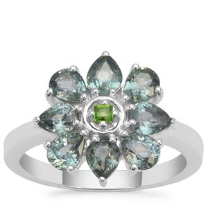 Natural Umba Sapphire Ring with Chrome Diopside in Sterling Silver 2.33cts