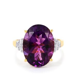 Moroccan Amethyst Ring with Diamond in 18K Gold 8.38cts