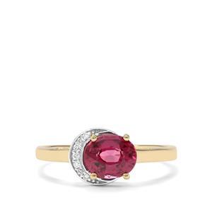 Savanna Pink Garnet & Diamond 9K Gold Ring ATGW 1.25cts