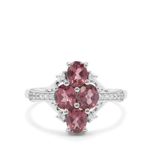Natural Hot Pink Spinel & White Zircon 9K White Gold Ring ATGW 1.58cts