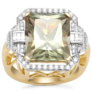 Csarite® Ring with Diamond in 18K Gold 9.37cts