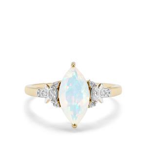 Ethiopian Opal & White Zircon 9K Gold Ring ATGW 1.12cts