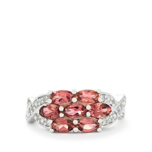 Pink Tourmaline & White Topaz Sterling Silver Ring ATGW 1.66cts