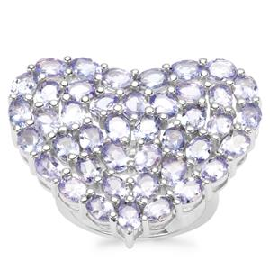 Tanzanite Heart Ring in Sterling Silver 7.35cts