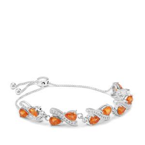 9.86ct Mandarin Garnet Sterling Silver Slider Bracelet