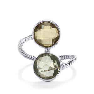 Lemon Quartz Ring with Prasiolite  in Sterling Silver 7cts