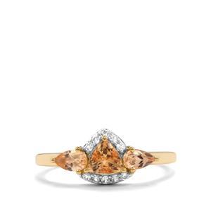 Ouro Preto Imperial Topaz & White Zircon 10K Gold Ring ATGW 1.16cts