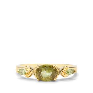Ambilobe Sphene & Peridot 9K Gold Ring ATGW 1.25cts
