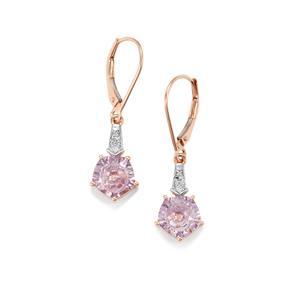 Lehrer QuasarCut Rose De France Amethyst & Diamond 10K Rose Gold Earrings ATGW 3.13cts