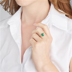 Zambian Emerald Ring with Diamond in 18k Gold 2.25cts