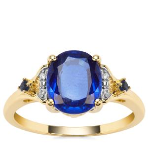 Nilamani, Ceylon Blue Sapphire Ring with White Zircon in 9K Gold 2.38cts