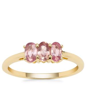 Padparadscha Sapphire Ring in 9K Gold 1cts
