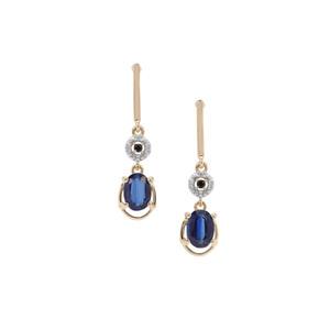 Nilamani, Ceylon Blue Sapphire & White Zircon 9K Gold Earrings ATGW 2.33cts