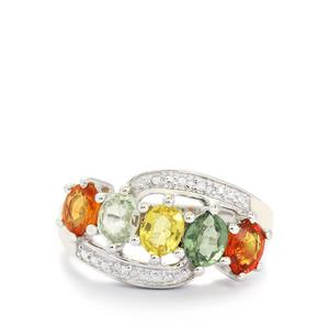 Rainbow Sapphire & Diamond Sterling Silver Ring ATGW 2.45cts