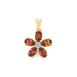 Bekily Color Change Garnet Pendant with Diamond in 10k Gold 2.63cts