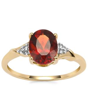 Madeira Citrine Ring with Diamond in 9K Gold 1.51cts