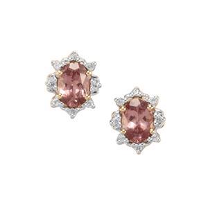 Mahenge pink Spinel & White Zircon 9K Gold Earrings ATGW 1.87cts