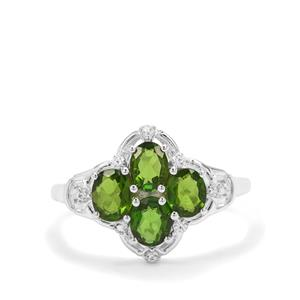 Chrome Diopside & White Zircon Sterling Silver Ring ATGW 1.74cts