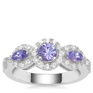 AA Tanzanite Ring with White Zircon in Sterling Silver 1.23cts