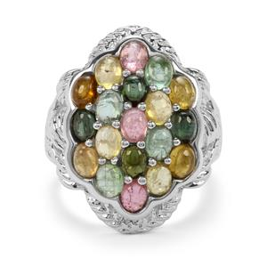 3.80ct Rainbow Tourmaline Sterling Silver Ring