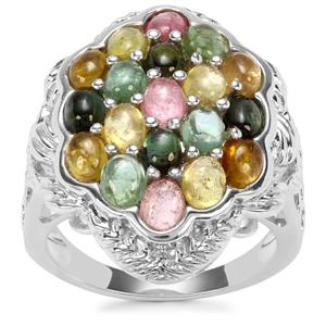 Rainbow Tourmaline Ring in Sterling Silver 3.80cts