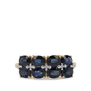 Australian Blue Sapphire Ring with Diamond in 9K Gold 2.52cts