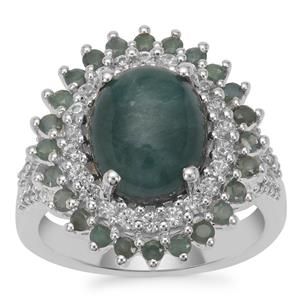 Grandidierite, Alexandrite Ring with White Zircon in Sterling Silver 5.10cts