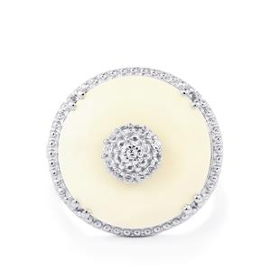 White Agate & White Topaz Sterling Silver Ring ATGW 8.39cts