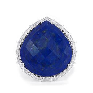 Sar-i-Sang Lapis Lazuli & White Topaz Sterling Silver Ring ATGW 26.95cts