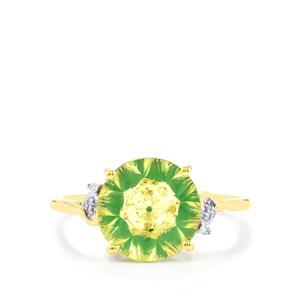 Lehrer KaleidosCut Green Gold Quartz, Zambian Emerald Ring with Diamond in 10K Gold 2.90cts