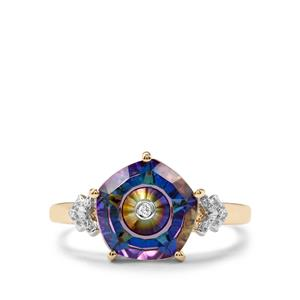 Lehrer TorusRing Mystic Topaz Ring with Diamond in 10k Gold 3.62cts