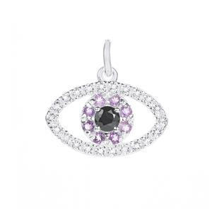 Gem Auras Amethyst, Spinel & White Topaz 'Intuitive' Sterling Silver Pendant ATGW 0.50cts