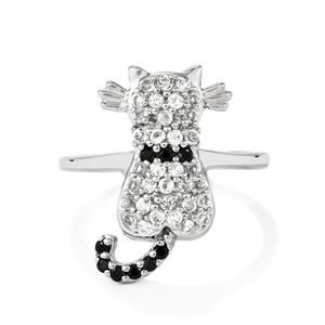 Black Spinel & White Topaz Sterling Silver Ring ATGW 0.65cts