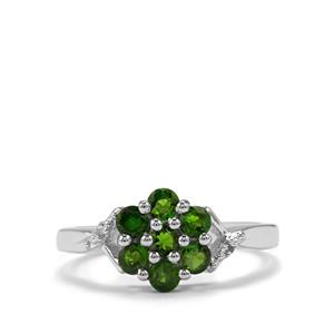 Chrome Diopside Ring with Diamond in Sterling Silver 0.92cts