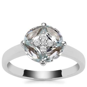Sokoto Aquamarine Ring with White Zircon in Sterling Silver 0.96cts
